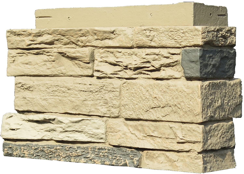 NextStone Polyurethane Faux Stone Interlocking Outside Corner – Slatestone Sahara (4 Corners per Box)