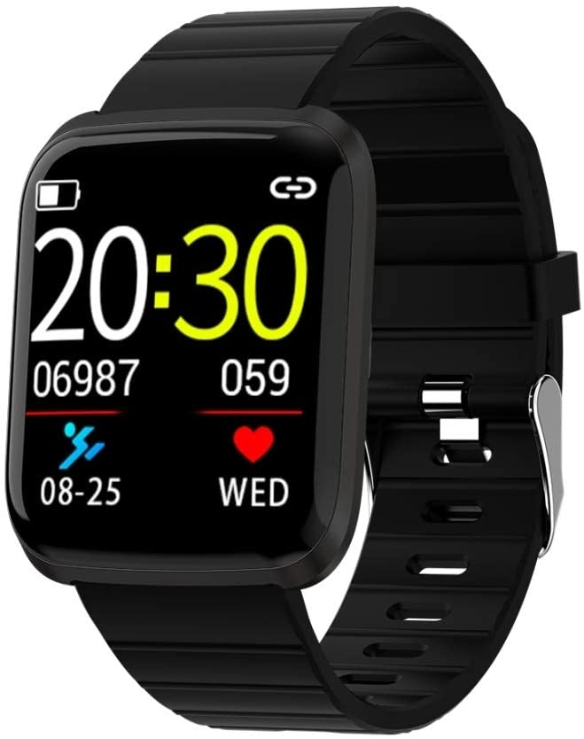 KANEED GM20 1.3inch IPS Color Screen Smart Watch IP67 Waterproof,Support Call Reminder/More Functions/Blood Pressure Monitoring/Sedentary Reminder(Black) Fitness Tracker (Color : Black)