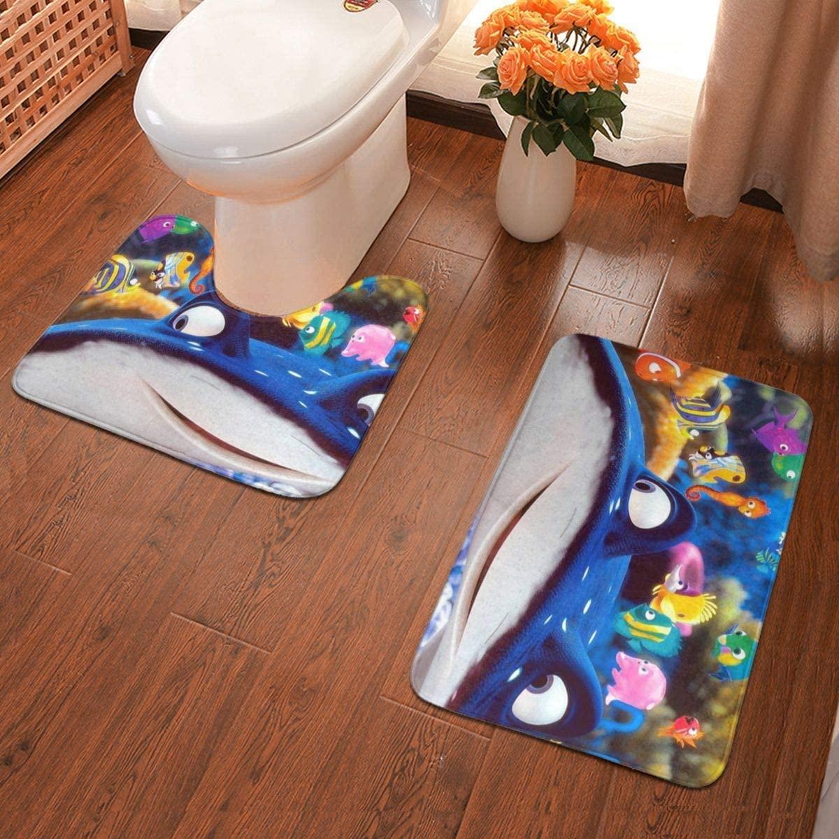 Boweike Finding Nemo Bathroom Antiskid Pad Non-Slip Bath Carpet Floor Mat Rug 2 Sets -Floor Mat+U-Shaped Pad, Toilet Washable Blanket Mats for Bathroom Home Shower