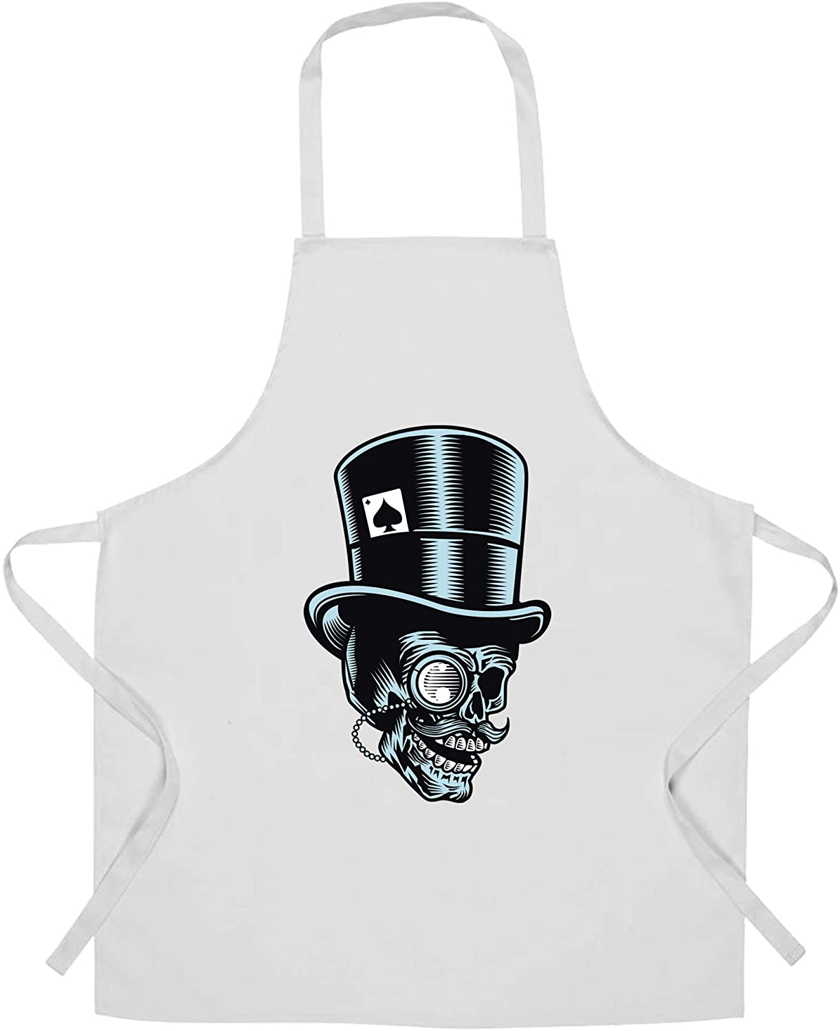 Skull Chef's Apron Undead Head With Top Hat White One Size