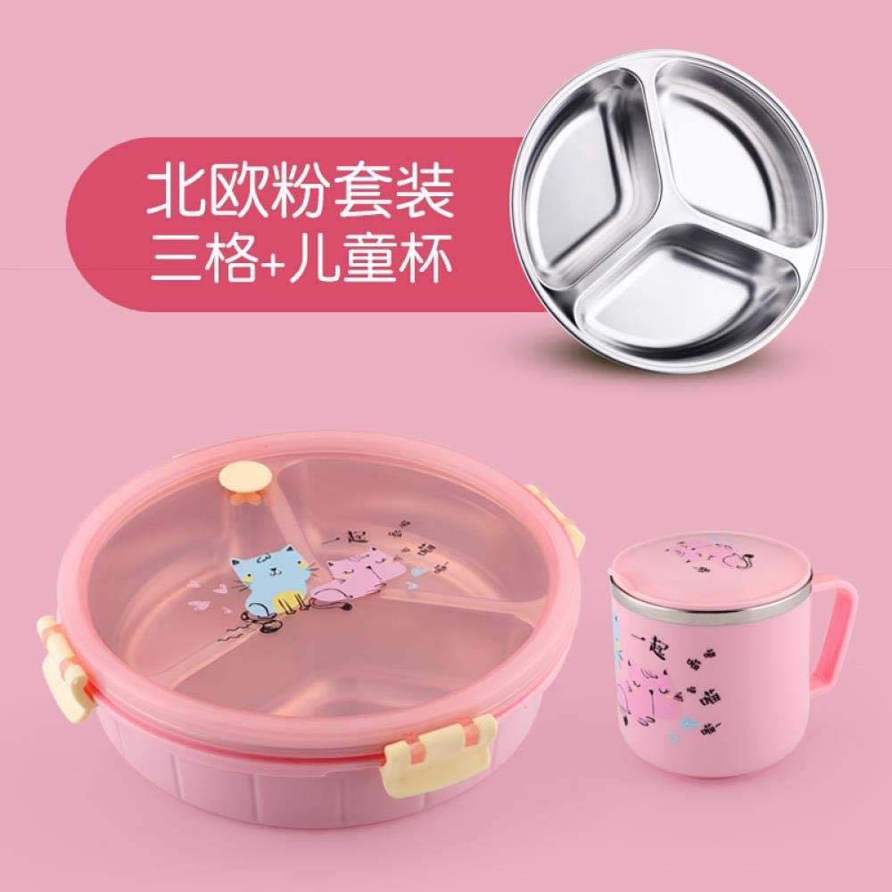 304 stainless steel compartment anti-scalding lunch box, three compartments with lid separation tray, Nordic powder three grid + cup