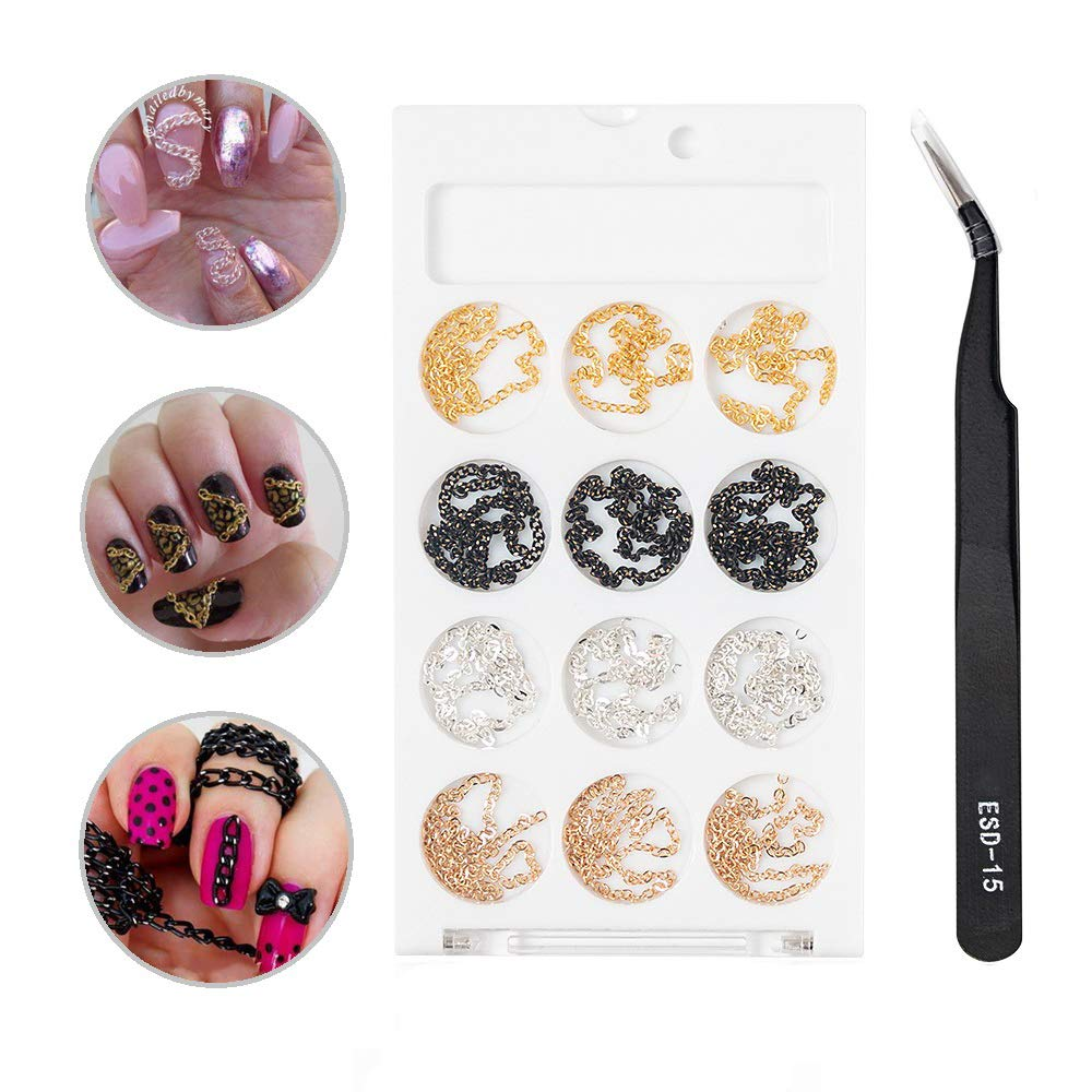 Vastitude Nail Chains Gold Metal 3D Nail Art Decorations Charm Glitter Nail Rivet Studs DIY Nail Supplies 4 Color Chains for Women with Stainless Steel Curved Tweezers
