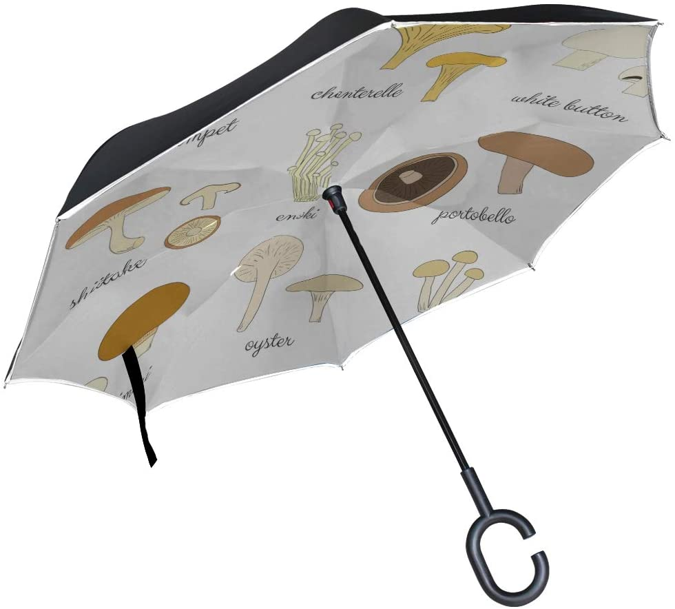 Double Layer Inverted Reversible Umbrella For Women Creative Fungus Vegetable Flammulina Folding Outdoor Umbrella Inverted Reverse Umbrella Windproof Uv Protection For Rain With C-shaped Handle