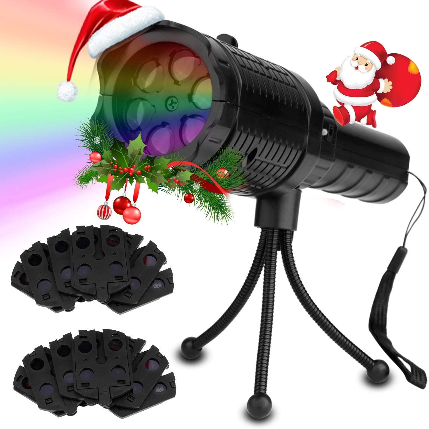 Htwon Handheld Easter Projector Lights, LED Projection Holiday Lights with 12 Pattern Slides and Tripod, Portable 2 in 1 Decoration Light Show & Handheld Flashlight for St. Patrick's Day and Easter