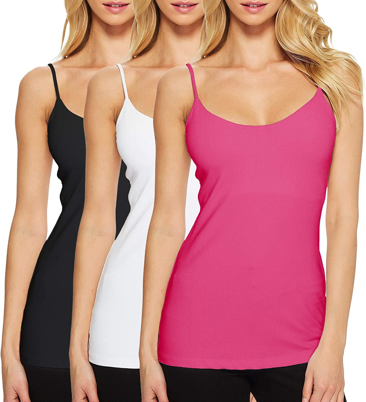 Women Compression Cami Tops Seamless Adjustable Spaghetti Strap Camisoles Tank Top (Black/White/Hot Pink, L)