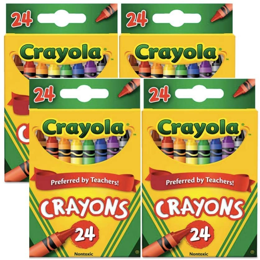 Bek Brands Classic Coloring Crayons, Nontoxic, 24 ct - Great for Back to School, Holiday, and Arts and Crafts Supply (4 Pack)