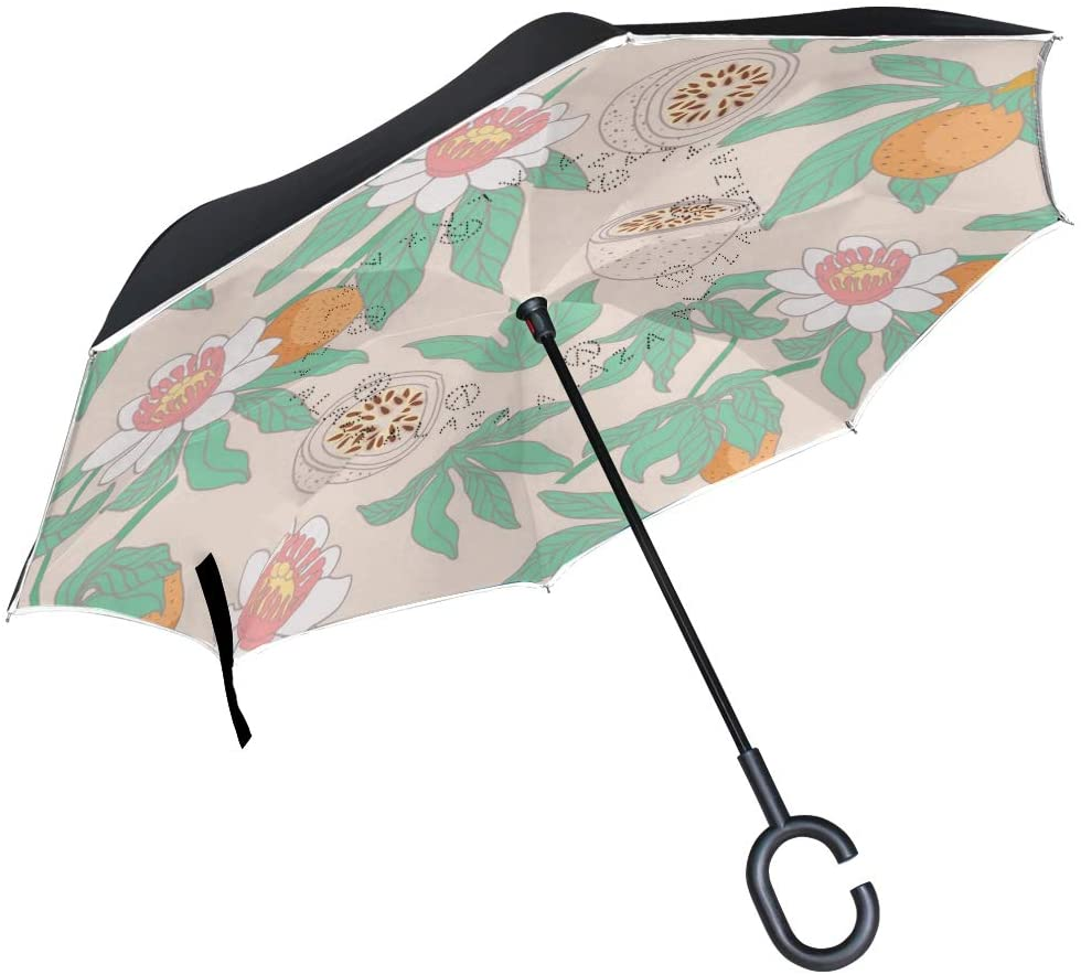 African Woman Inverted Umbrella Double Layer Windproof UV Protection Compact Car Reverse Umbrella