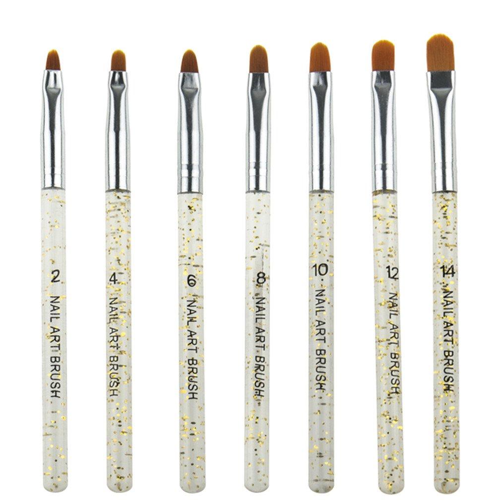 7Pcs Professional Manicure Brush Pen Transparent Acrylic Nail Art Painting Drawing Brush Phototherapy Tools