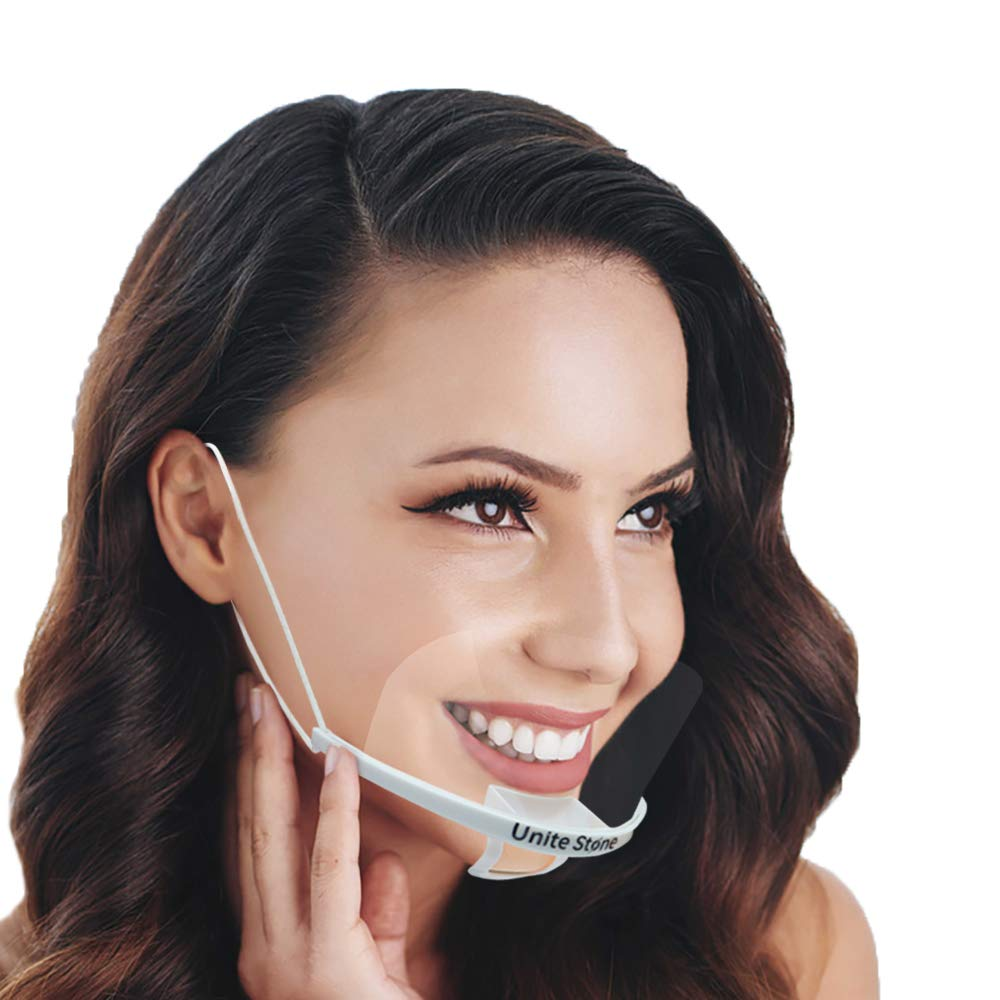 Unite Stone Mouth Shield Mask for Restaurant Hotel Hospital Spit Shield Mask Protection Food Truck Beauty Salon Clear film Protective Mouth Reusable Cover Sanitary Environmental (10pcs)