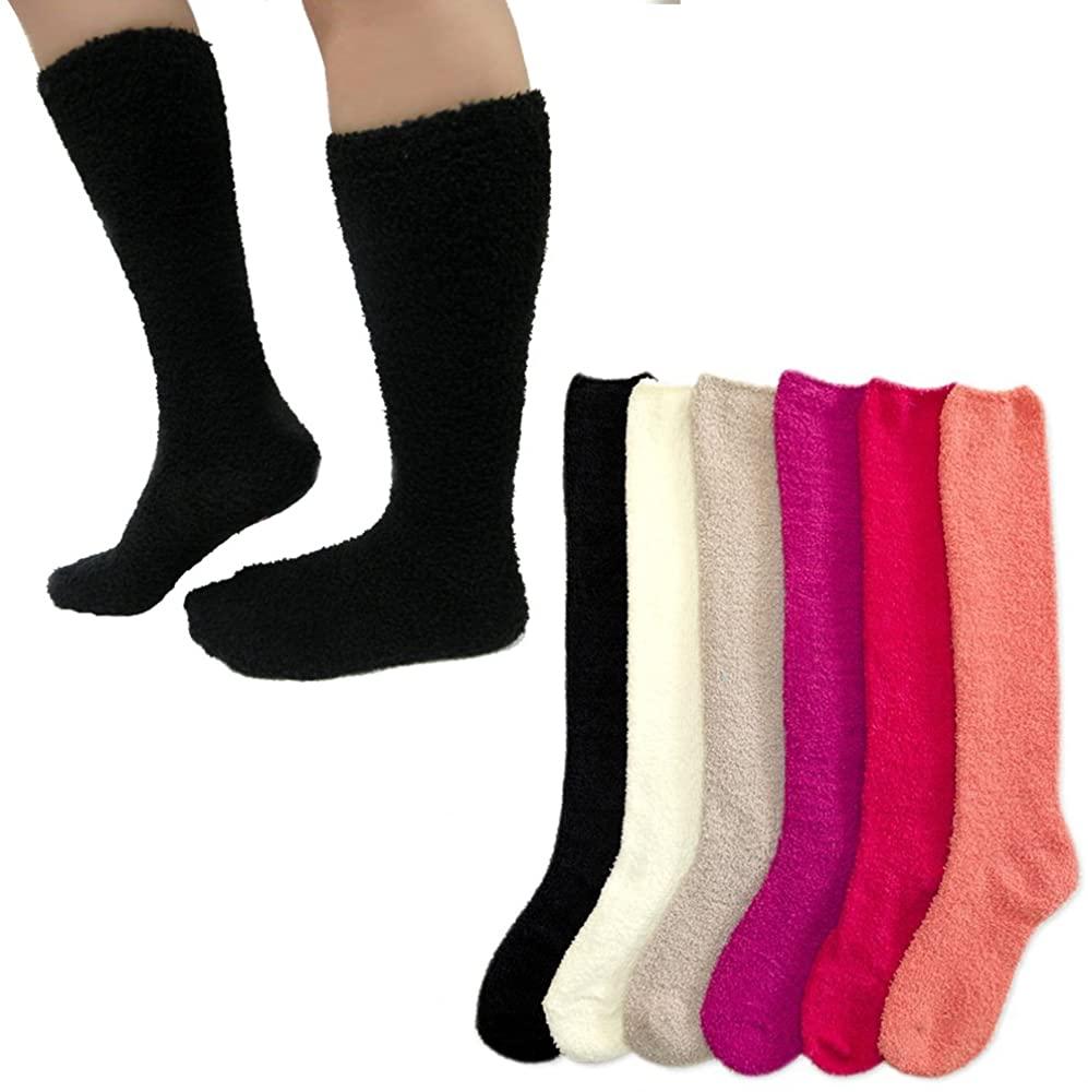 6 Pairs Women Girl Winter Socks Slipper Fuzzy Cozy Long Knee High Soft Warm 9-11
