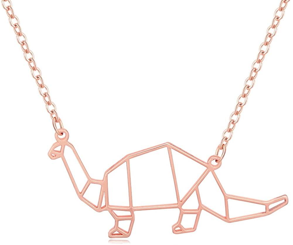 MANZHEN Simple Origami T-Rex Dinosaur Pendant Necklace Animal Jewelry