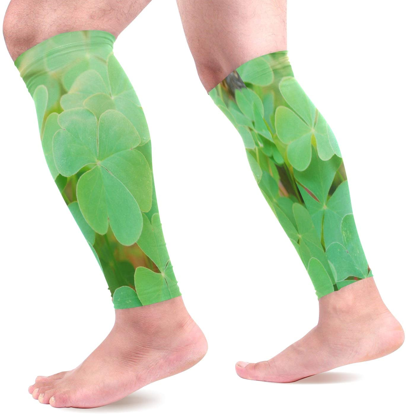 Calf Compression Sleeves Vector Beautiful Wild Clovers Leg Compression Socks for Runners, Shin Splint, Varicose Vein & Calf Pain Relief - Calf Guard for Running, Cycling, Maternity, Nurses Women