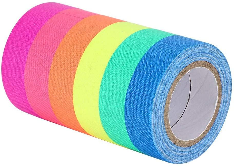 Fluorescent Cloth Tape, Durable Bright Warning Decoration Tape, Glow Safety Sticker for Labels Floor Marking for Color Coding Binding