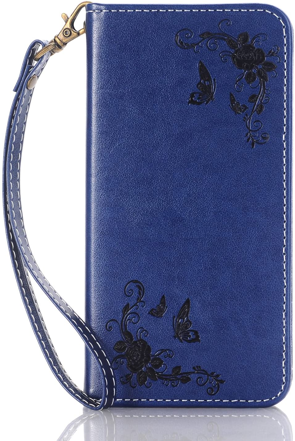 iPhone 8 Case, Dfly-US Invisible Strong Magnetic Buckle Style Fancy PU Leather Embossing Rose and Butterfly Pattern Automatic Adsorption Flip Wallet Cover for Apple iPhone 8 (2017), Dark Blue