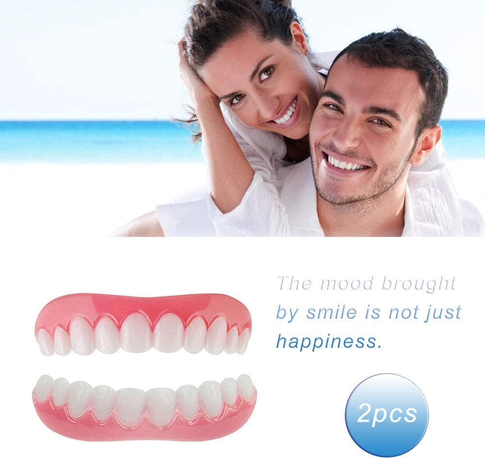 ZNXY 2 pcs Upper Teeth Simulation Braces Instant Smile Comfort Fit Flex Cosmetic Teeth, Bright White Shade, Comfortable Upper Veneer