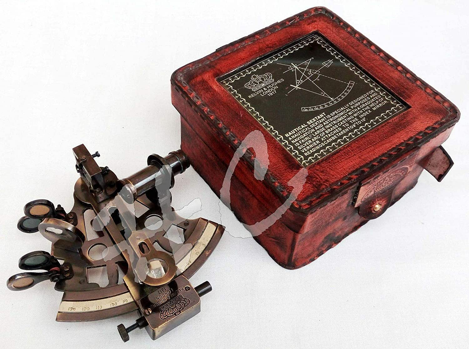 Calvin Nautical Brass Sextant Astrolabe with Leather Box/Antique Nautical Collection