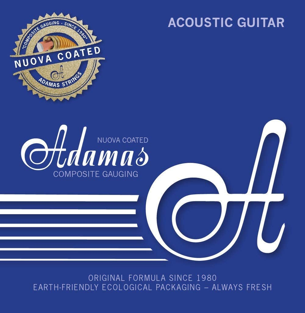 Adamas Strings for Acoustic Guitar Nuova Coated Single String Plain, Bare steel String, solid brass ball-end .011