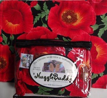 NUGGLEBUDDY Microwaveable Moist Heat & Aromatherapy Organic Rice Pack. ASIAN POPPY Fabric with GREEN TEA & ALOE Aromatherapy.