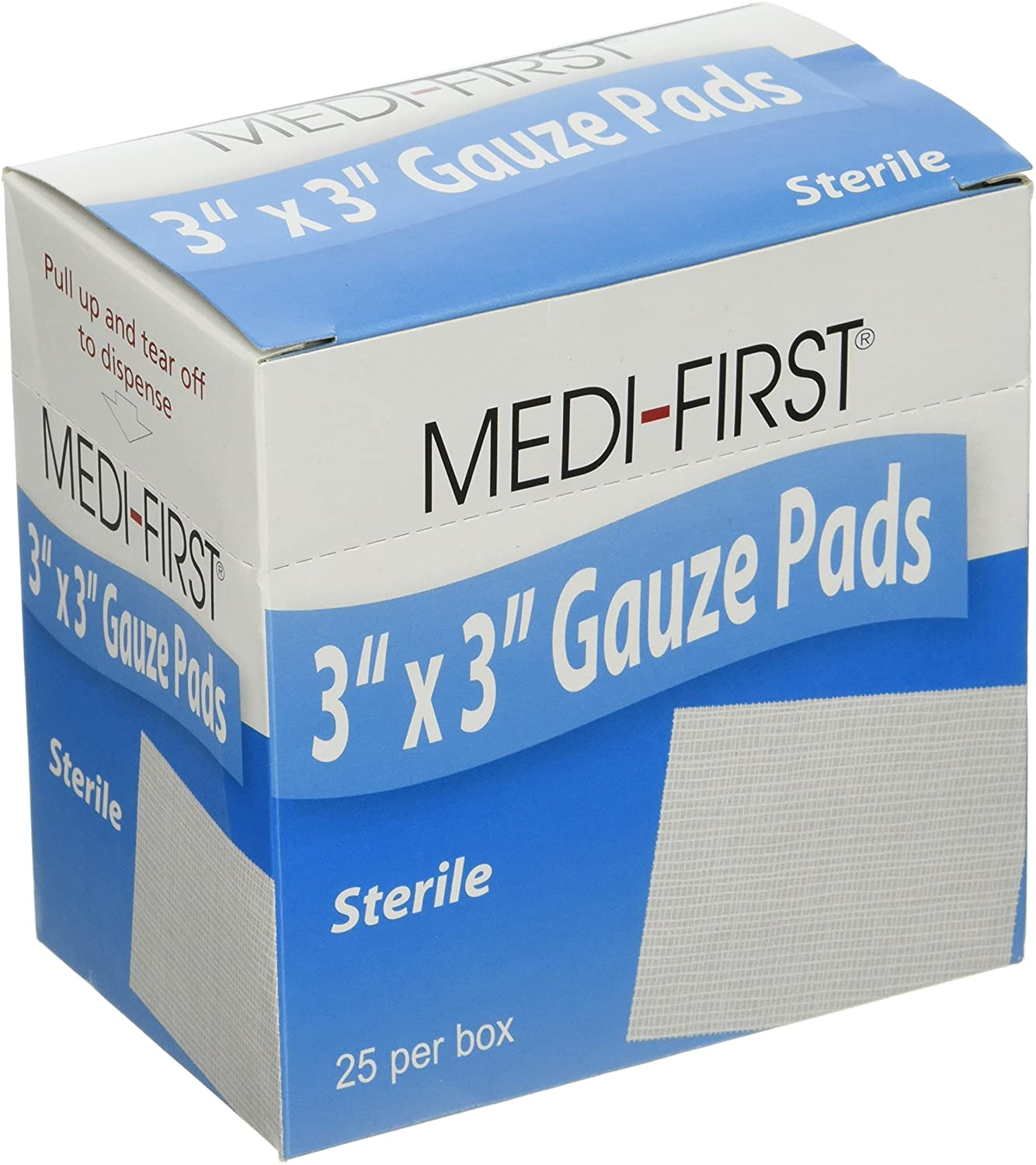Medique Products 61273 Sterile Gauze Pad, 3-Inch by 3-Inch, 25 Per Box