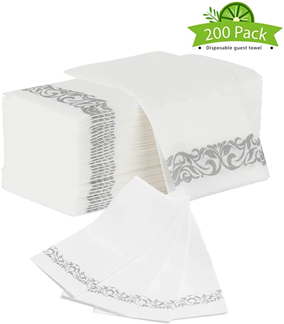 Disposable Hand Towels, Soft and Absorbent Linen Feel Decorative Hand Towels,Cloth Like White Paper Hand Napkins, Great For Kitchen, Dining Table, Guest Bathroom, Parties, Weddings (WHITE)