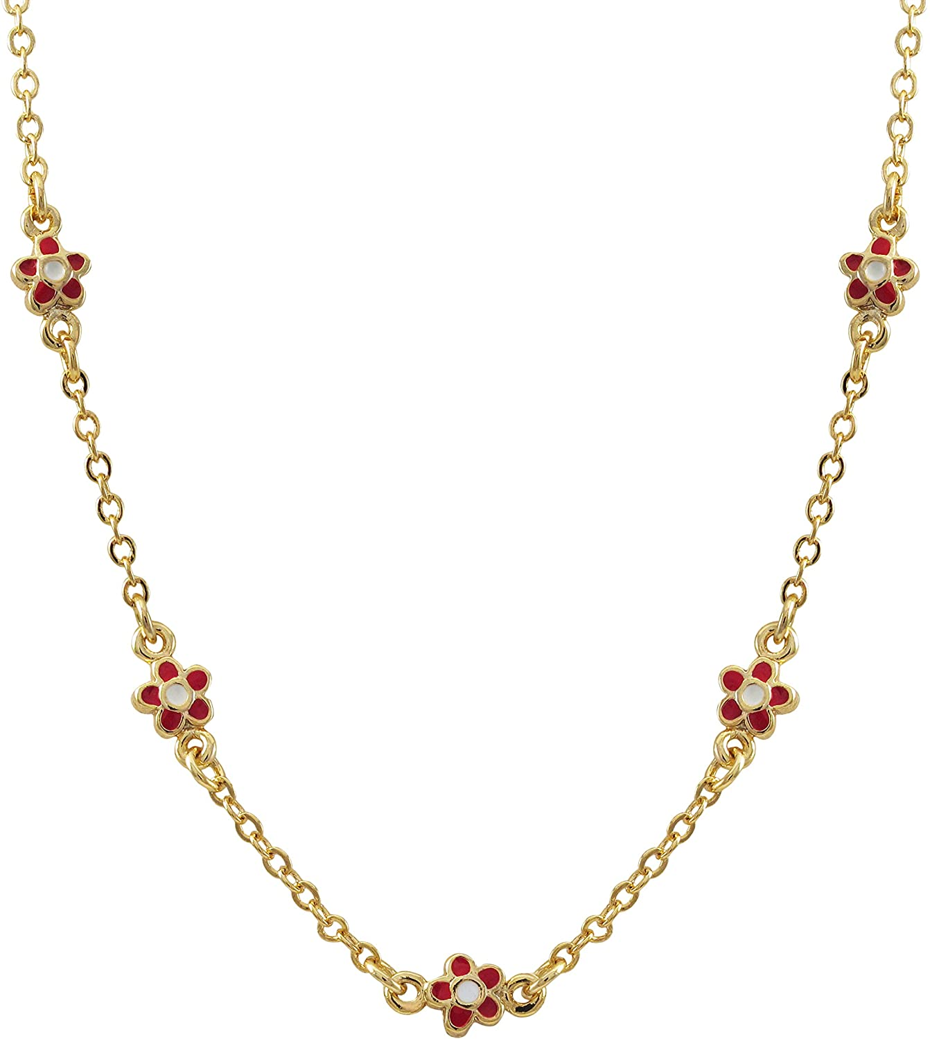 Ivy and Max Gold Finish Red Enamel Flower Girls Necklace, 15+2