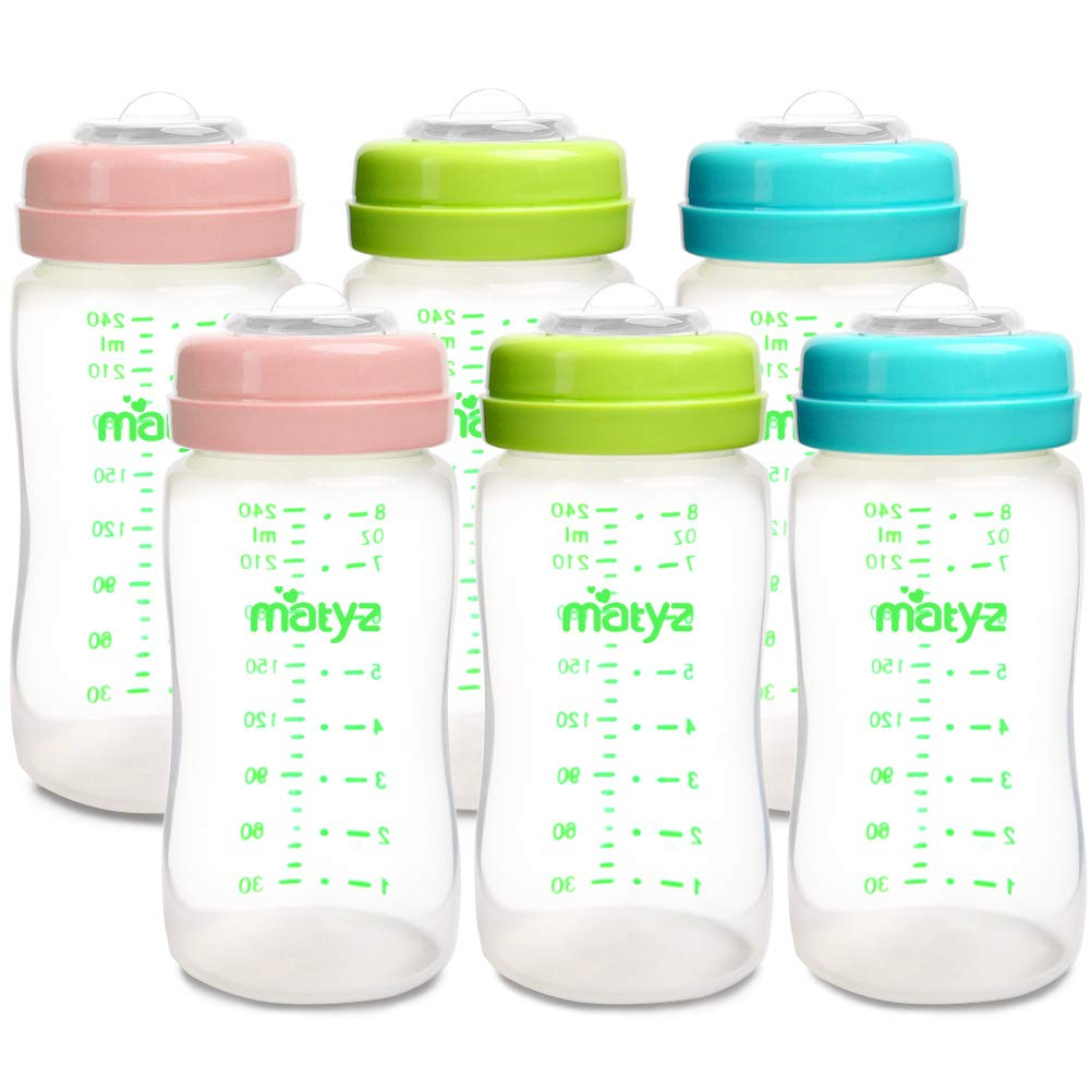 Matyz 6-Pack Breast Milk Storage Bottles (8oz, 3 Colors) - Wide Neck Breastmilk Collection and Storage Bottle - Formula Storage Bottles Compatible with Medela Avent Spectra Pumps