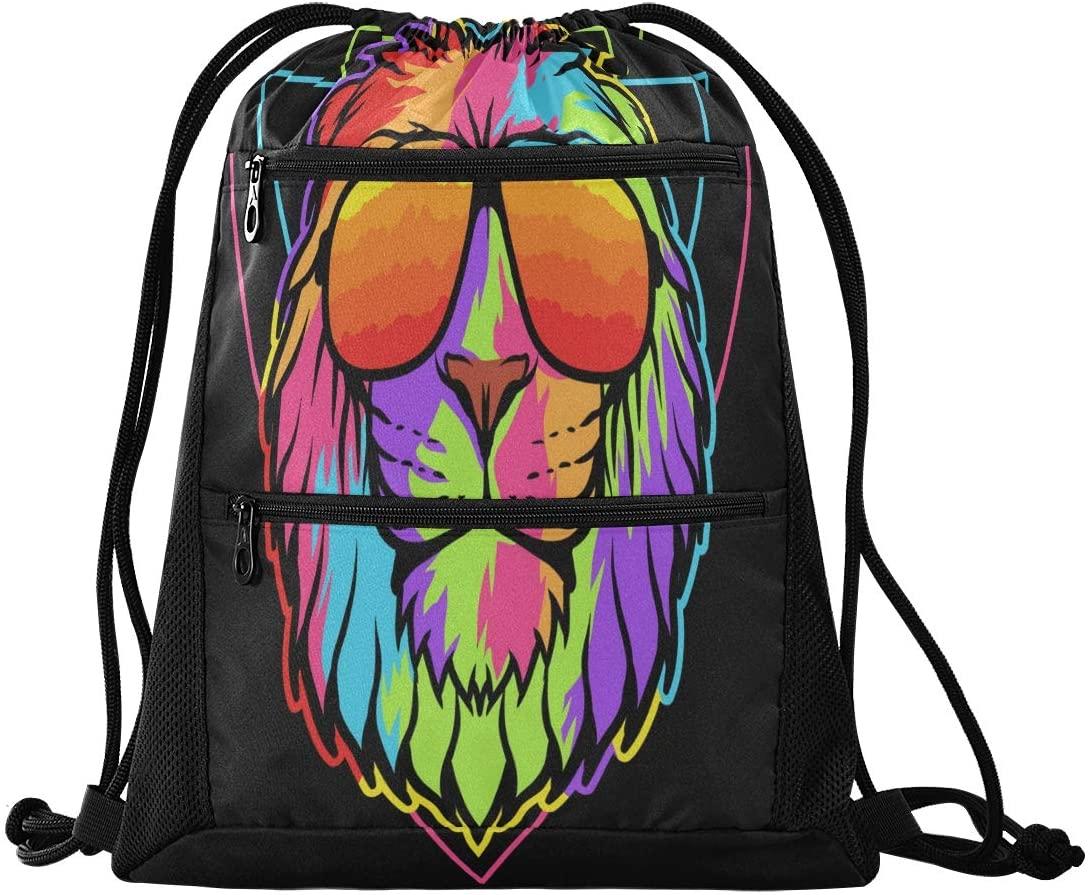 Drawstring Backpack Sport Gym Sackpack - Lion Drawstring Bag with Zipper Pocket Sinch Sack Sport Backpack for Music Festiva Swimming
