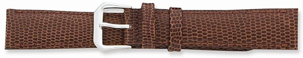 Sonia Jewels 20mm Havana Lizard Grain Leather Silver-Tone Buckle Watch Band 7.5