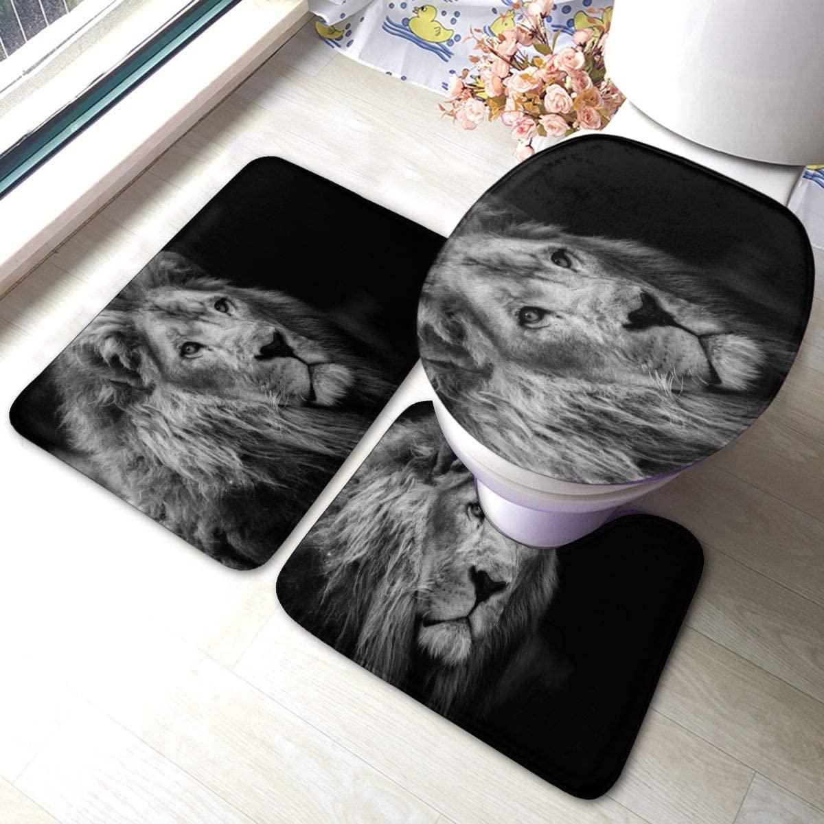 Bathroom Rugs Sets 3pc Special Portrait of Animal Lion Non Slip Bath Mats Rug U Shaped Contour Rug Toilet Lid Cover Mat Washable Floor Carpet Shower Tub Bathroom Accessories Decor