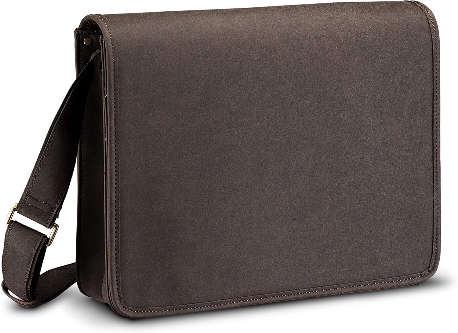 Full Flap Messenger Laptop Bag, Distressed PU Leather for 13.3 Inch Laptop, MacBook, or Tablet (Brown)