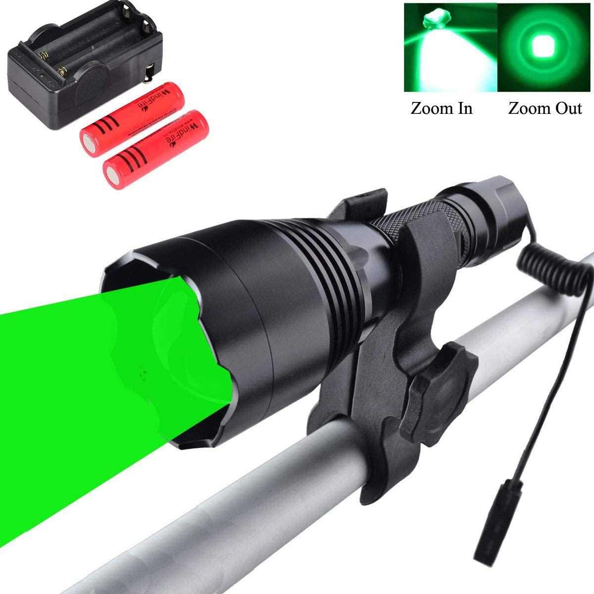 WINDFIRE WF-360G Green Hunting Light 350 Yards Coyote Light Zoomable LED Tactical Flashlight Night Hunting Light Kit