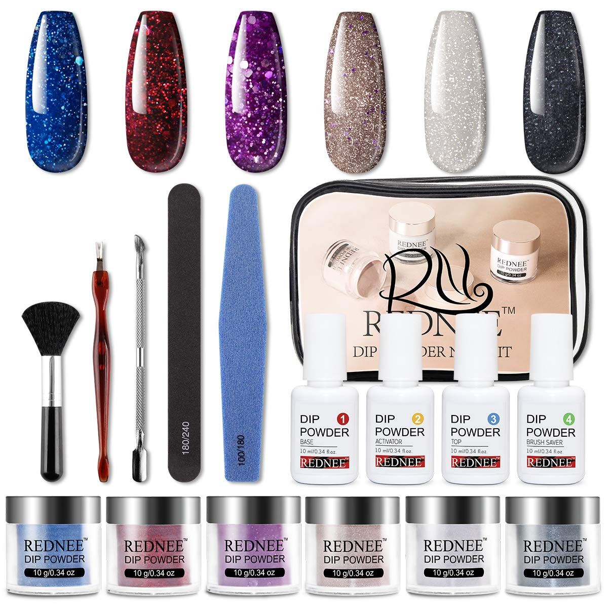 REDNEE Dip Powder Nail Starter Kit 6 Colors with Gel Liquid Essential Tools 16pcs Dipping Powder for Travel - RE03 Party Color