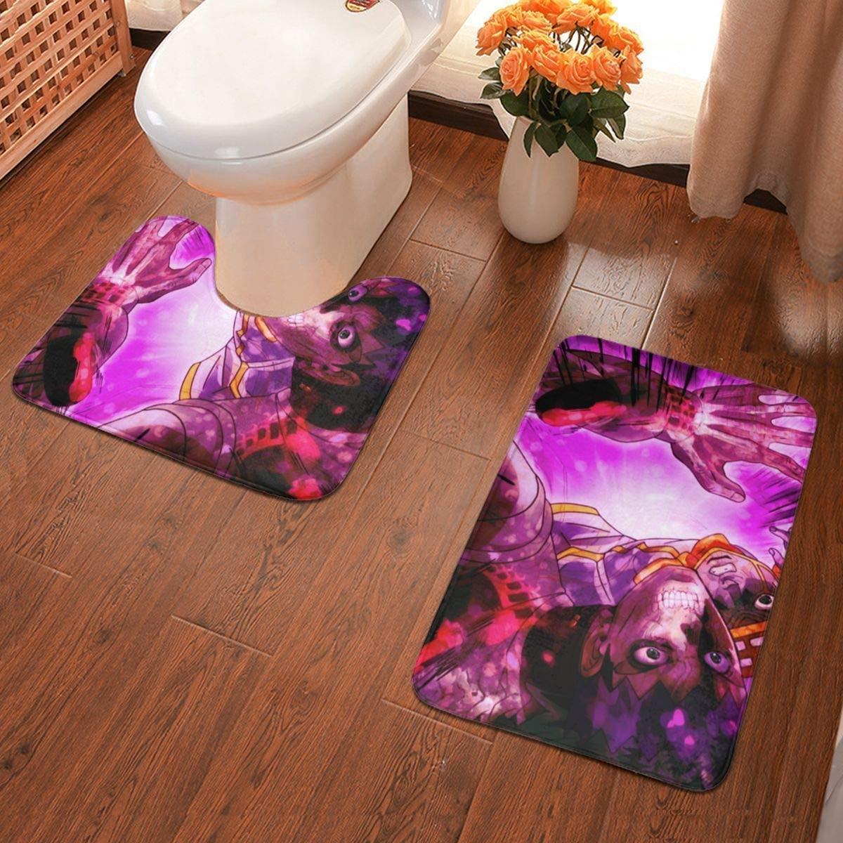 Boweike JoJo's Bizarre Adventure Bathroom Antiskid Pad Non-Slip Bath Carpet Floor Mat Rug 2 Sets -Floor Mat+U-Shaped Pad, Toilet Washable Blanket Mats for Bathroom Home Shower