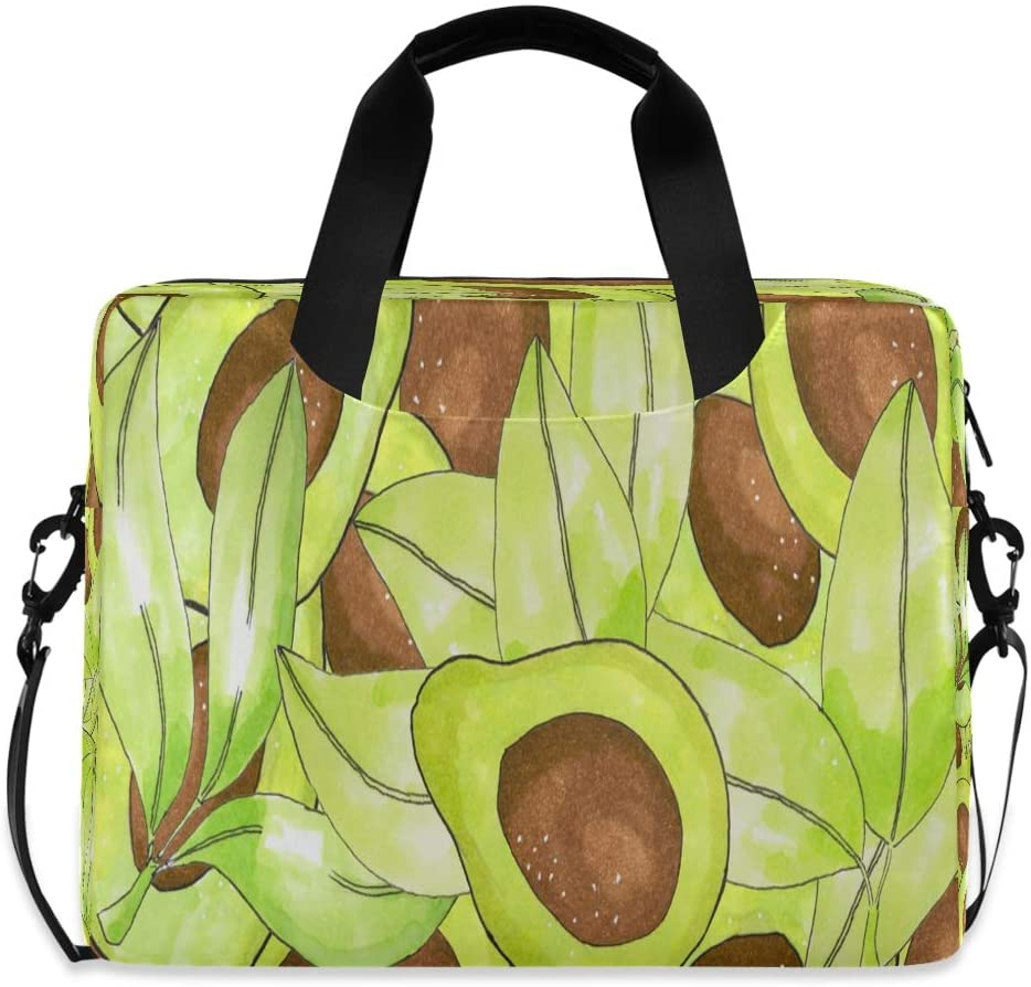 Laptop Bag Briefcase Shoulder Bag - Avocado Leaves Fruit 15.6 Inch Tote Bag Laptop Messenger Shoulder Bag Carrying Briefcase, Great to Business, Work
