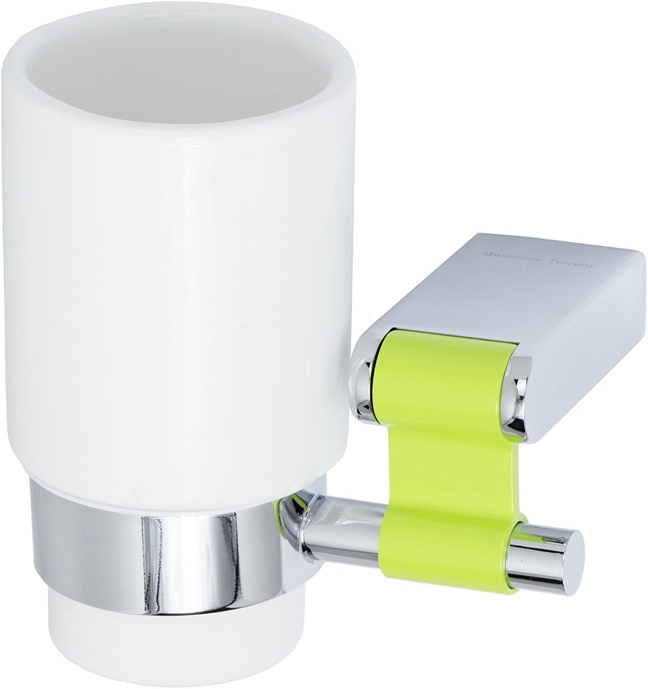 Iris Collection Wall Toothbrush and Toothpaste Holder, Polished Chrome, with White Ceramic Cup, Ensembles, Made in Spain (European Brand) (Green)