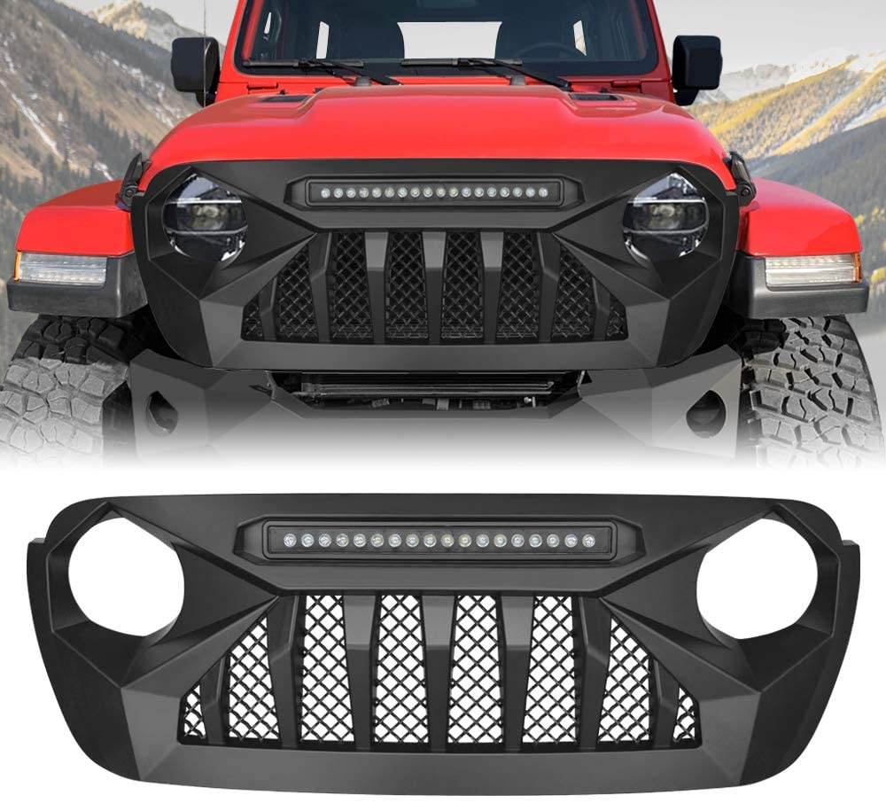 AMERICAN MODIFIED Grill Grille Front Cover for 2018-2020 Jeep Wrangler JL JLU & Unlimited Accessories, ABS (JL Demon Grill w/LED)