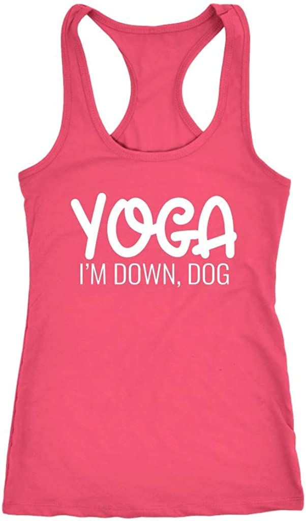 Tessa Mae Designs Funny Workout Racerback Tank Top - Yoga I'm Down, Dog, Pink, XX-Large