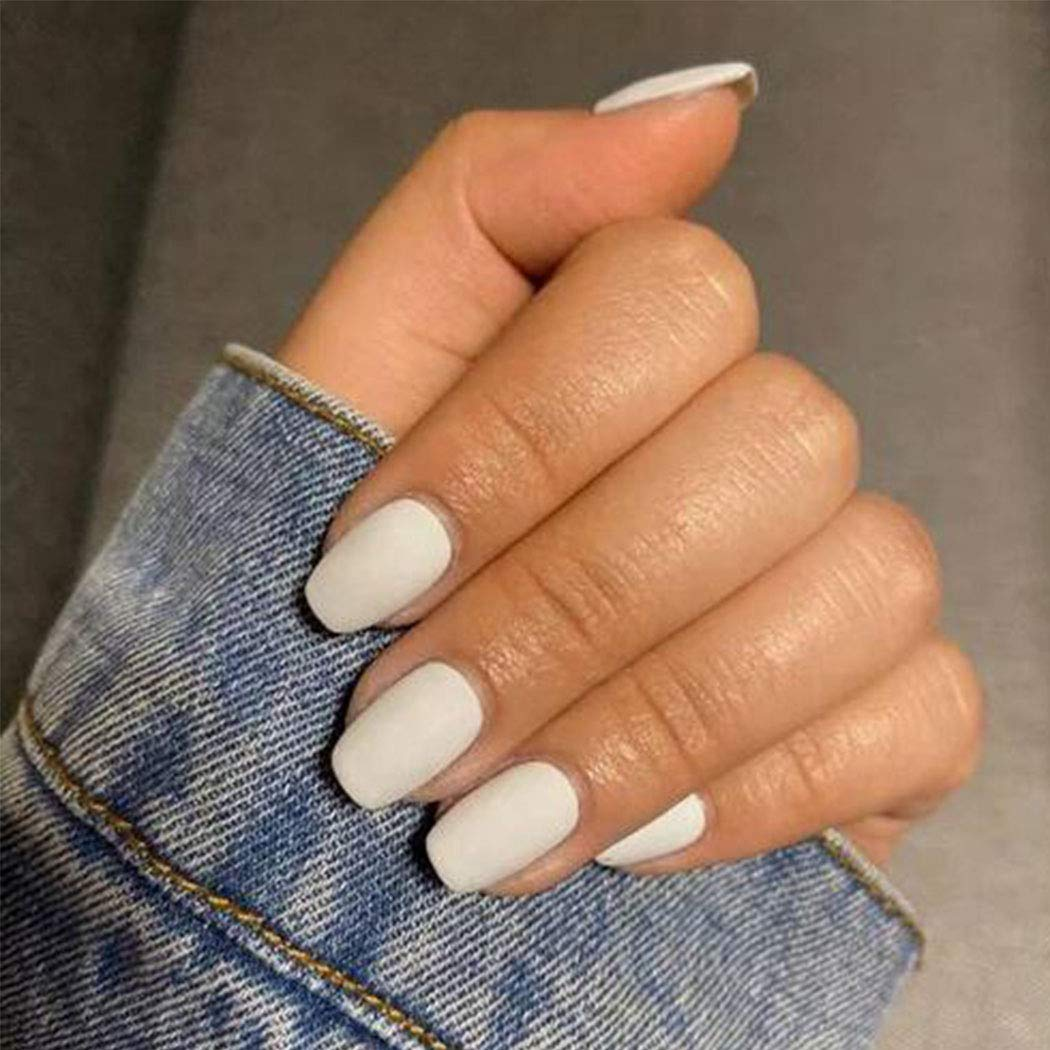 Gemily Square Matte Fake Nails White Short Full Cover Natural Acrylic Press on Nails Artificial Pure Color False Nails for Women (Pack of 24)