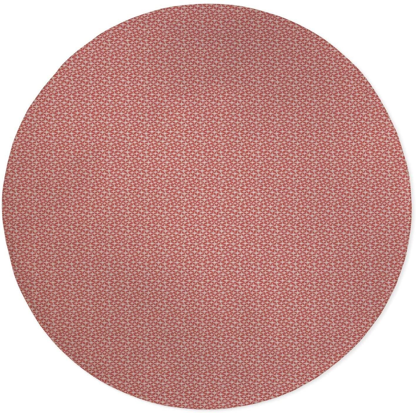 Floral Emblems Coral Office Mat Lemon Pink Modern Contemporary Synthetic Fiber