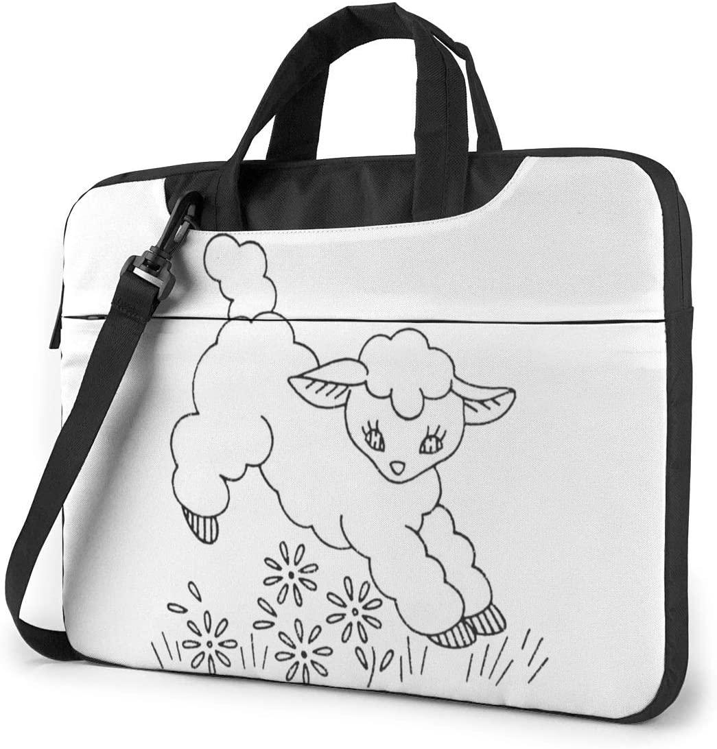 Lamb Patterns Laptop Shoulder Bag with Handle Carrying Messenger Handbag