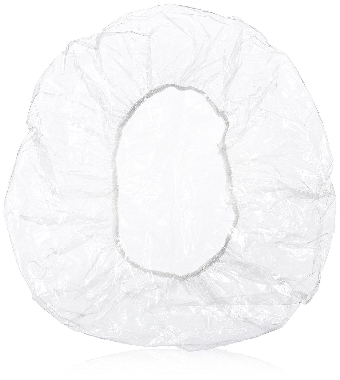 La Tartelette 10 Pieces Clear Disposable Plastic Shower Caps Large Elastic Bath Cap for Women Spa, Home Use, Hotel and Hair Salon