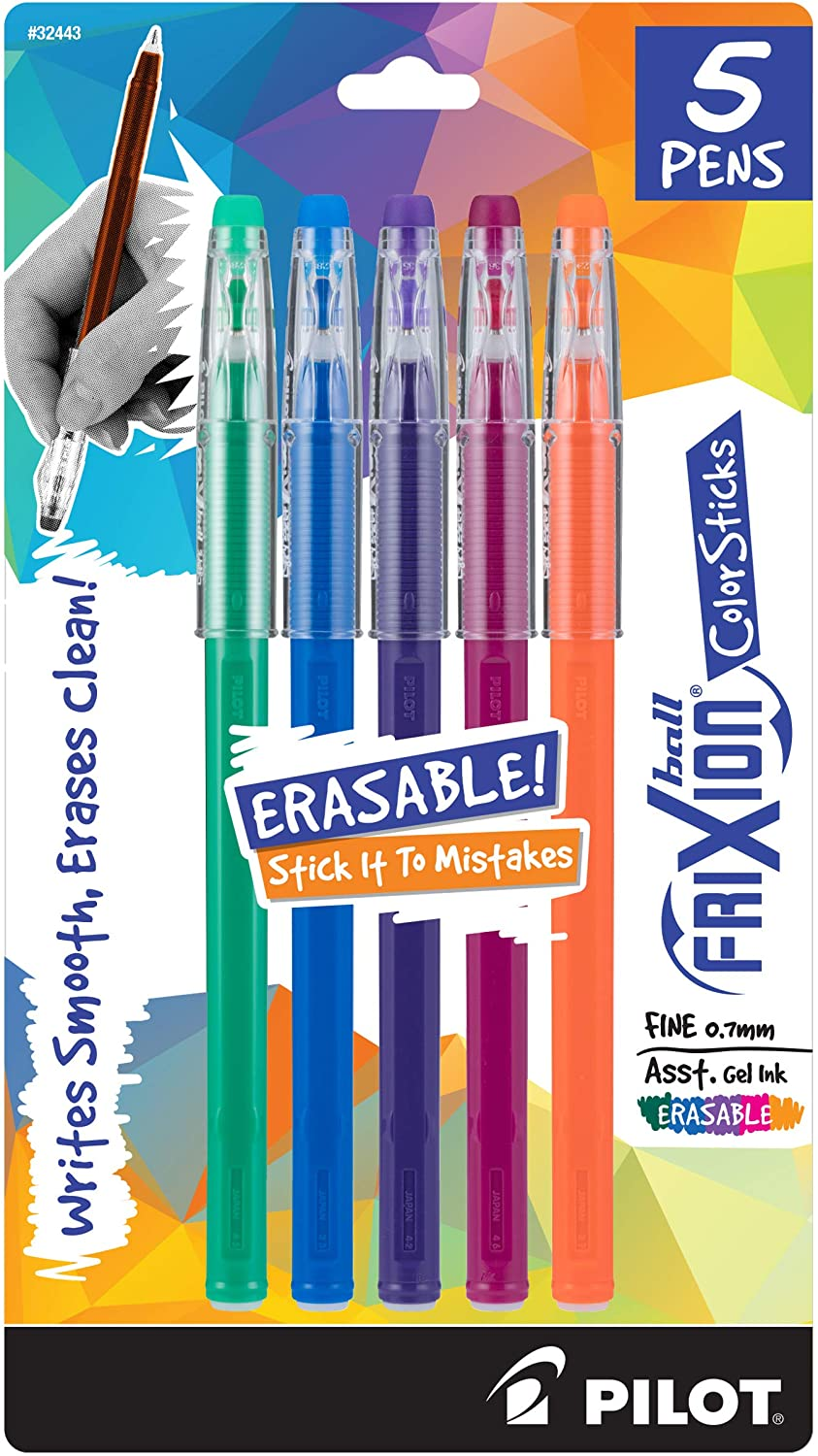 PILOT FriXion ColorSticks Erasable Gel Ink Stick Pens, Fine Point, Kelly Green/Blue/Purple/Magenta/Salmon Pink Inks, 5-Pack (32443)