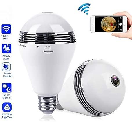 3MP 1.3MP Wireless IP Camera Bulb Light 360 Degree FishEye 3D VR Mini Panoramic Home CCTV Security IP Camera Baby Monitor EC29 (Size : 960P no Card)