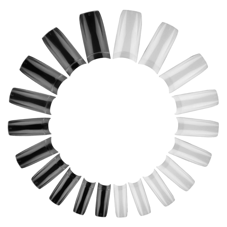 1000PCS Acrylic Nails Tips, Coffin Nails Ballerina Long Fake Nails, Full Cover Artificial Nails Tips 10 Size (Clear & Natural)