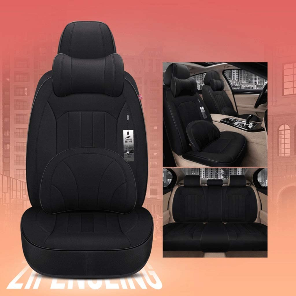 GXDHOME Car Seat Linen Seat Cloth Fabric Car Seat Special All-Inclusive Seat Cover Full Set Car Mat Non-Slip Seat Car Interior Accessories (Color : Black)