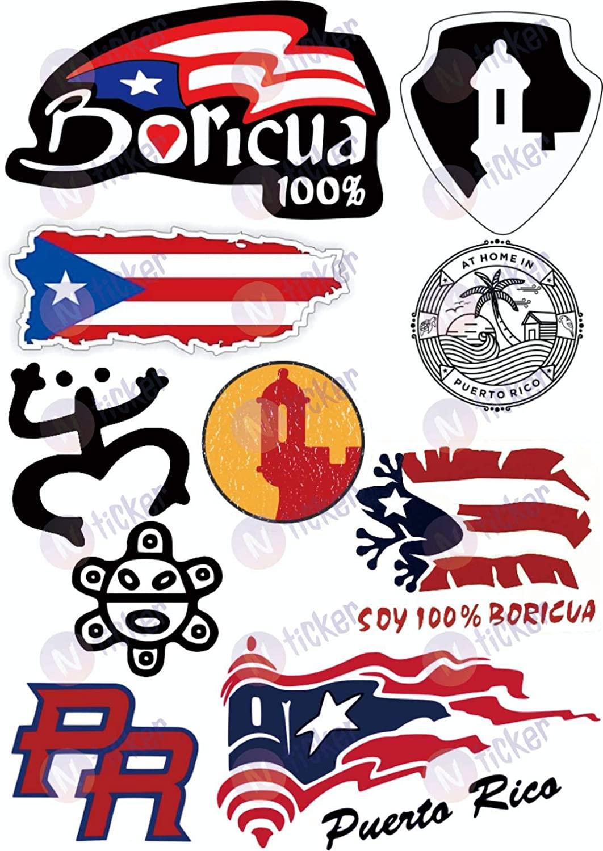 10 pcs Set Puerto Rico Sticker Decal Set. Puerto Rico Hard Hat Sticker, Car Bumper, Window, Laptop, Water Bottle