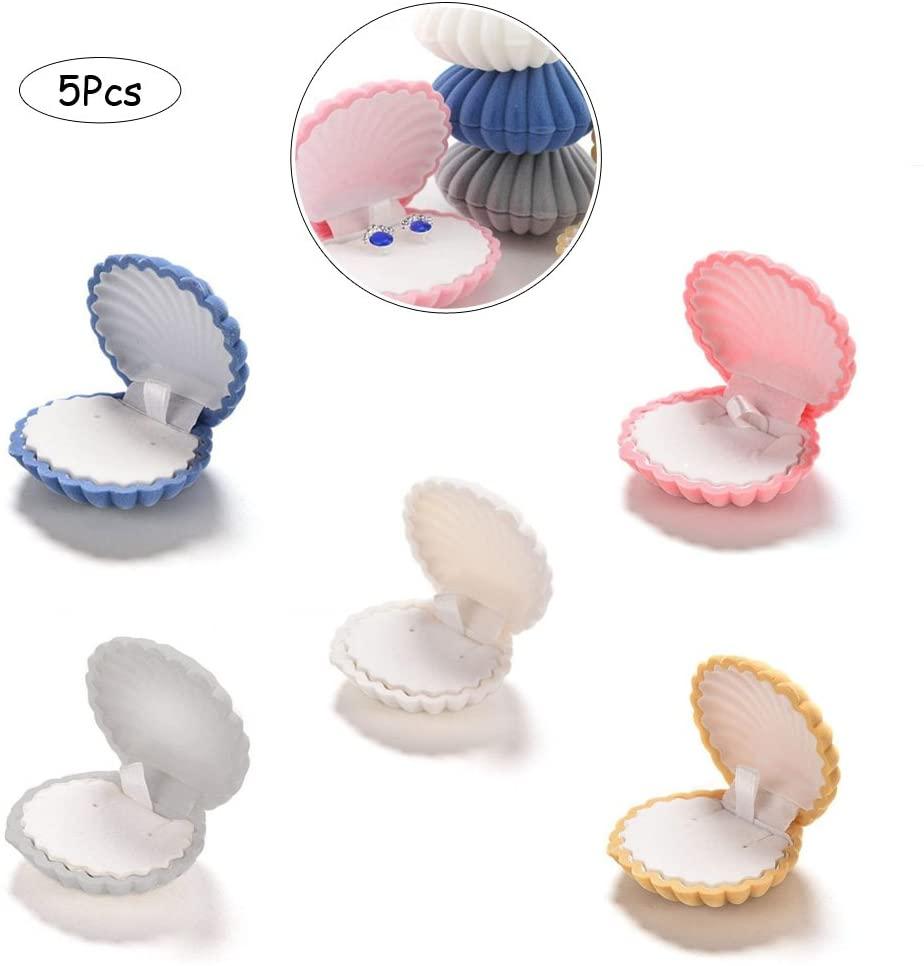 Ximimark 5Pcs Shells Box Velvet Earring&Ring&Necklace Box Jewelry Box Gift 5 Colors