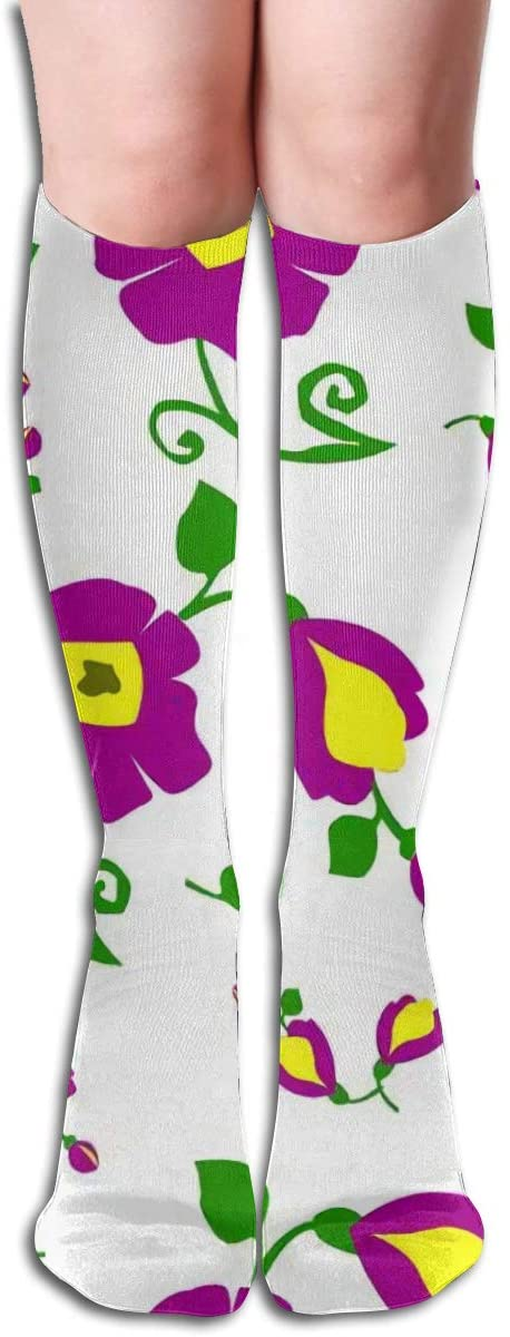 Texture of Flowers,Design Elastic Blend Long Socks Compression Knee High Socks (50cm) for Sports