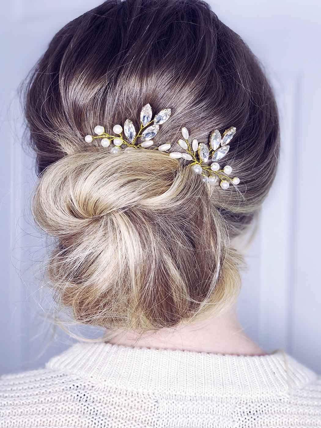 Asooll Gold Wedding Pearl Headpiece Bride Crystal Hair Pins headband Bridal Hair Accessories for Women and Girls 2Pcs