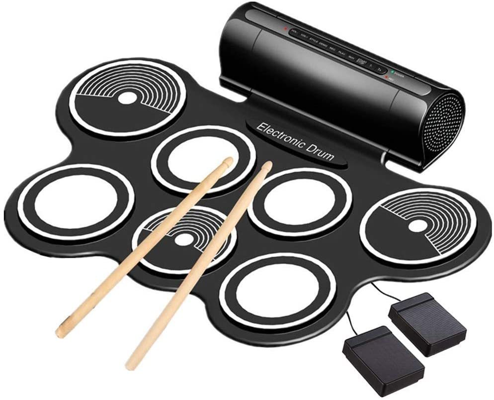 JZJSZB Hand Roll Electronic Drum,Child Adult Beginner Portable Folding Entry Professional Play Built in Speaker and Battery, Drum Stick, Foot Pedals, Best Gift for Christmas Holiday Birthday